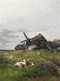 landschaft mit kühen vor windmühle by julius jacob the younger