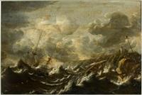deux navires dans la tempête près d'un littoral rocheux by pieter coopse