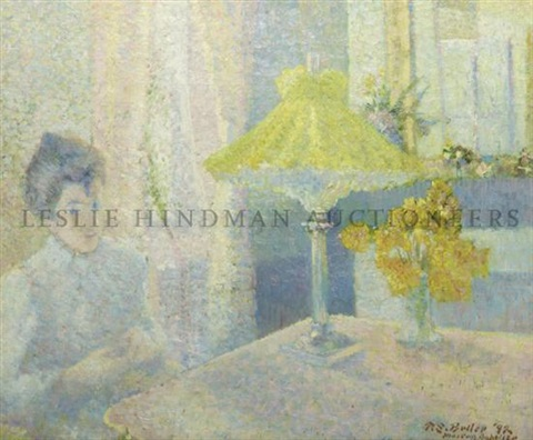 lady seated in front of a table with lamp and vase of yellow flowers by theodore earl butler