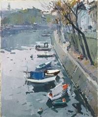 bord de seine, les barques, quai d'anjou xvii by paul jean anderbouhr