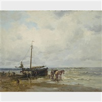 fisherfolk on a beach by dorus arts