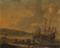 vaisseaux suédois dans un port de la mer baltique by reinier nooms