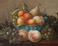 still life with fruit on porcelain dish by adrianus apol