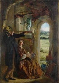 young couple observing a landscape through a doorway by john guille millais
