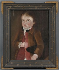 portrait of a young boy holding his tricorn hat by american school (18)