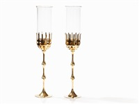 brass candlesticks (pair) by bjørn wiinblad