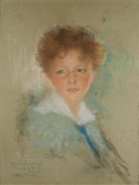 jeune garçon à la cravate bleue by lucien lévy-dhurmer