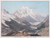 vue du mont blanc, prise du sommet du col de balme by jean-antoine linck