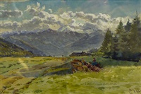 untitled (figures in alpine landscape) by charles jones way