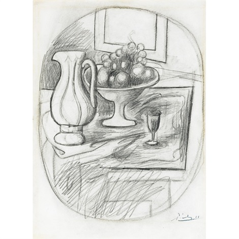 pot et compotier avec fruits by pablo picasso