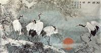 松鹤朝阳 by jia bingwu