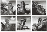 moai at ranu raraku, rapa nui i, ii, iii, iv, v & vi (6 works) by chris simpson