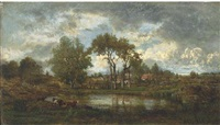 cattle watering at a lake before a village by charles leroux