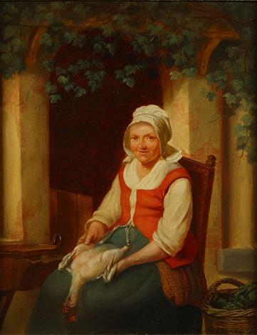 vrouw met kuiken by adrien ferdinand de braekeleer