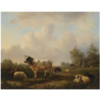 cattle in a summer landscape by jan bedijs tom