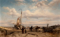 beach scene by johannes hermanus barend koekkoek