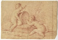 due putti bacchici by bernhard (christian bernhard) rode