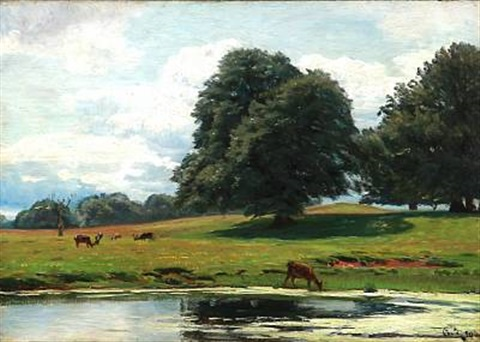 view of the deer garden north of copenhagen by christian peder mørch zacho