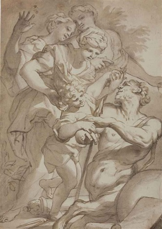nymphs entrusting chiron with the infant achilles by domenico piola