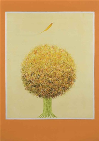 untitled bird and tree by jagdish swaminathan
