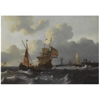 dutch shipping in choppy waters near a dutch village by wigerus vitringa