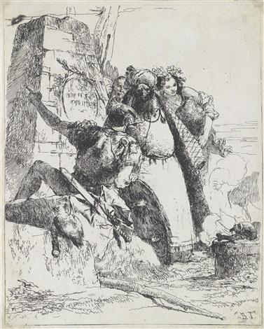ein magier ein soldat und zwei figuren vor einem obelisken im vordergrund ein totenkopf und eine eule pl 7 from scherzi di fantasia by giovanni battista tiepolo