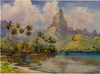 views of the island of tahiti (5 works) by william a. macdonald