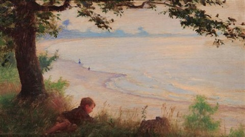 shore of lake erie by charles courtney curran