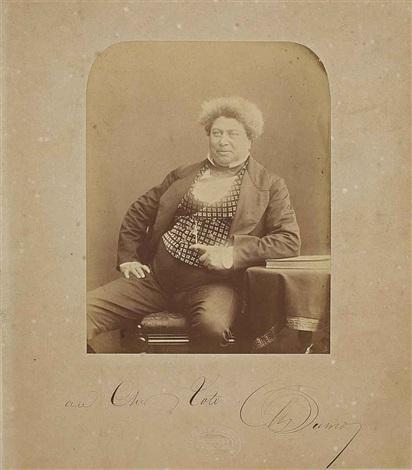 portrait dalexandre dumas 1802 1870 assis le bras gauche accoudé sur une table by herbert watkins
