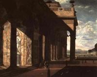die säulenhalle eines barocken palastes mit figuren by jan baptist van der straeten