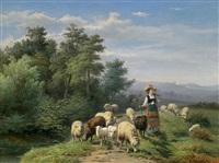 hirtin und herde in einer weiten landschaft by jan frederik pieter portielje and franz lebret