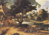 a wooded river landscape with travellers and horses resting near an inn, and boats on a river by flemish school-brussels (17)