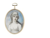 a lady, wearing white dress and matching bandeau in her powdered hair, a double-stranded pendant necklace suspended from her neck by richard cosway