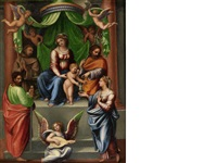 the madonna and child with saints and angels by innocenzo di pietro (da imola) francucci