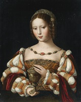 mary magdalene holding the unguent jar by master of the female half lengths