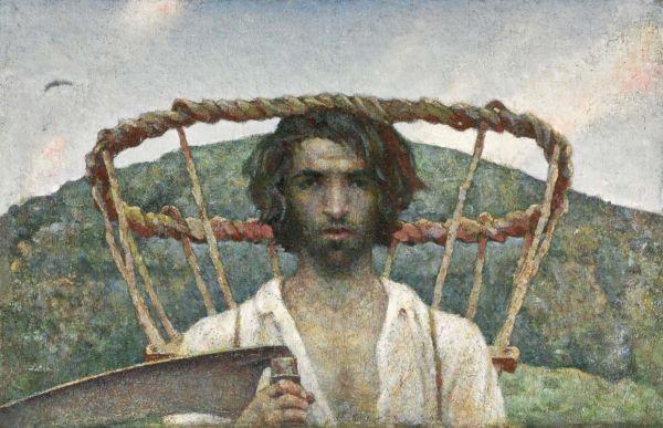 autoritratto giovanile con gerla e falce juvenile self portrait with pannier and scythe by luigi taddei