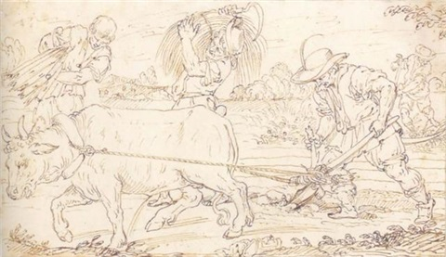 un paysan labourant trois autres ramassant du blé by ercole setti