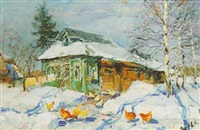 hens in a winter landscape by sergei gusev
