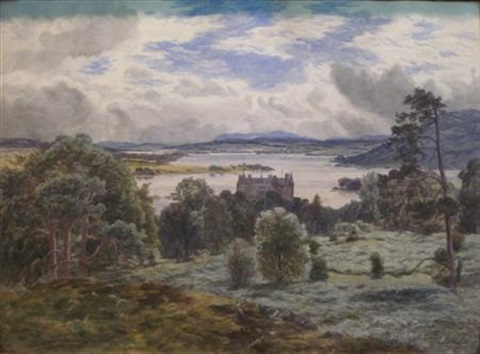 castle by a loch by james faed