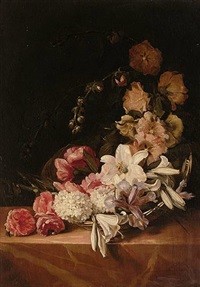a basket of summer flowers including roses, lilies, hollyhocks and irises on a pink marble ledge by dirk de bray