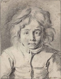 portrait of a young boy, bust-length by cornelis visscher