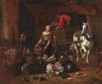 gemüsehändler mit pferdekarren und schubkarre by pieter angillis
