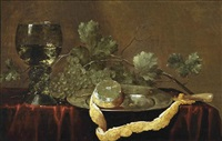 a partially peeled lemon on a silver platter, a knife, grapes and a roemer of white wine on a draped table by abraham susenier