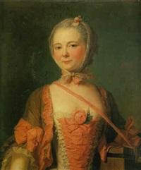 portrait de jeune fille à la robe brodée de tissue rose tenant une boîte à marmottes by pierre allais
