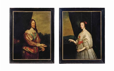 portrait of king charles i 1600 1649 standing three quarter length in a scarlet and portrait of queen henrietta maria 1609 1669 pair by sir anthony van dyck