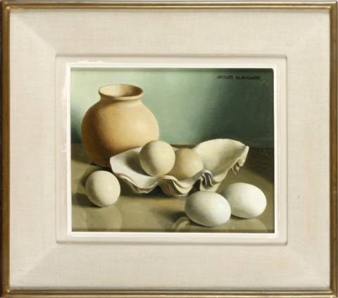 still life of a vase oyster shells and eggs by jacques blanchard