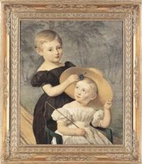 portræt af brodrene theodor og thorvald damborg by louis auguste francois aumont