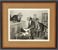 exhibit a and young attorney (2 works) by william gropper