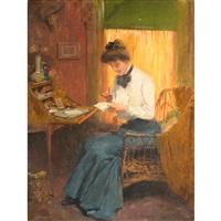 woman at her writing desk by warren b. davis