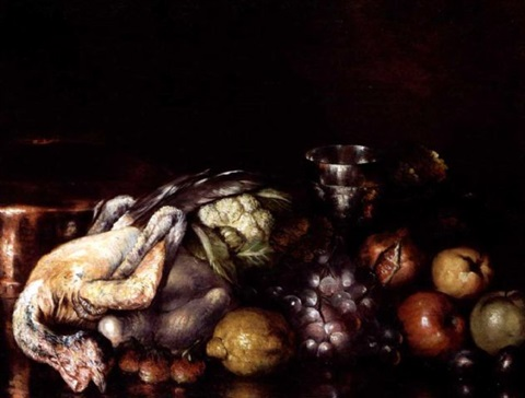 still life with game and fruit by nicolas wokos
